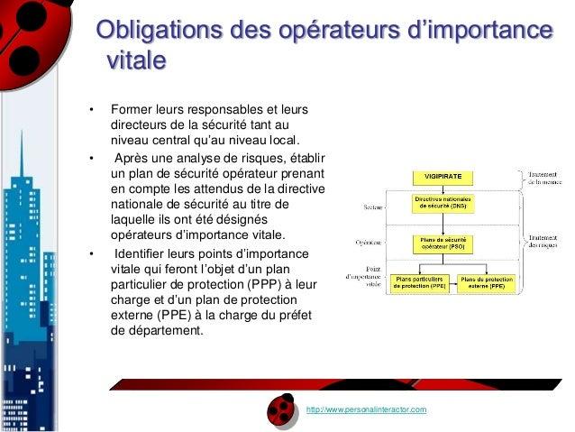 Obligations des opérateurs d'importance  vitale  • Former leurs responsables et leurs  http://www.personalinteractor.com  ...