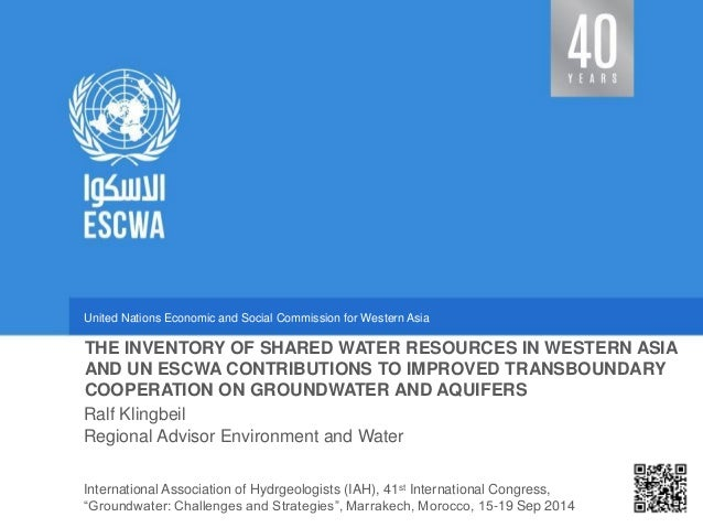 United Nations Economic and Social Commission for Western Asia  Regional Advisor Environment and Water  THE INVENTORY OF S...