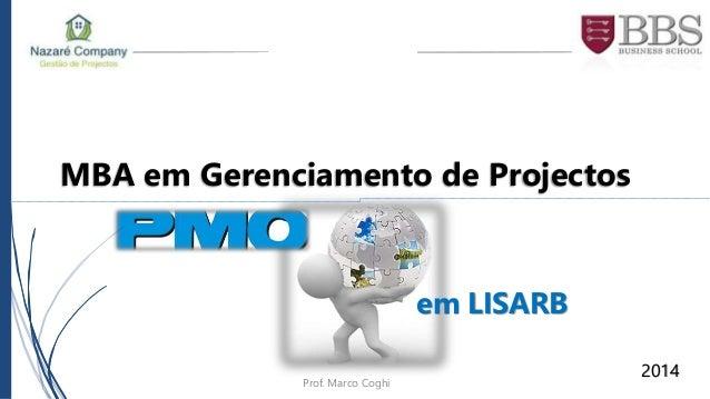MBA em Gerenciamento de Projectos  21/ago/2014  em LISARB  2014  Prof. Marco Coghi