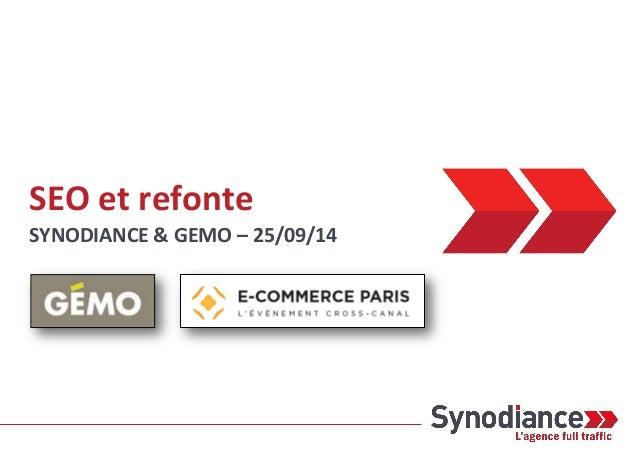 SEO et refonte  SYNODIANCE & GEMO – 25/09/14