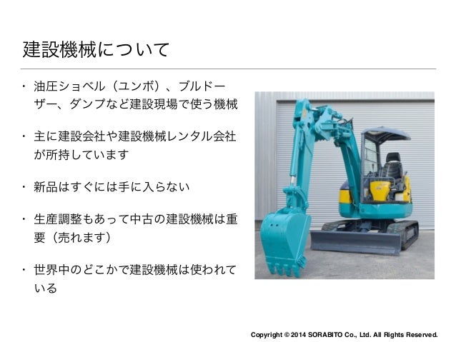 Copyright © 2014 SORABITO Co., Ltd. All Rights Reserved.  建設機械について  • 油圧ショベル(ユンボ)、ブルドー  ザー、ダンプなど建設現場で使う機械  • 主に建設会社や建設機械レン...