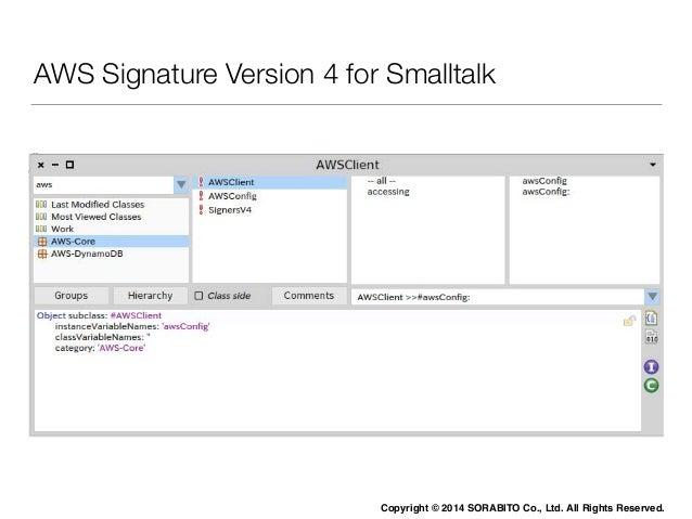The Passionate Smalltalker:  情熱Smalltalker  SmalltalkとAWSでクラウドサービスを実現するための挑戦  愛せよ、さもなくば捨てよ  Copyright © 2014 SORABITO Co.,...