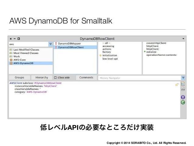 SmalltalkでDynamoDB HTTP APIを攻略する  • SSL接続  • URLは全て/。URLで処理内容を指定しない  • ヘッダーのx-amz-targetで処理内容を指定する  • エンドポイントはデーターセンターの場所を...