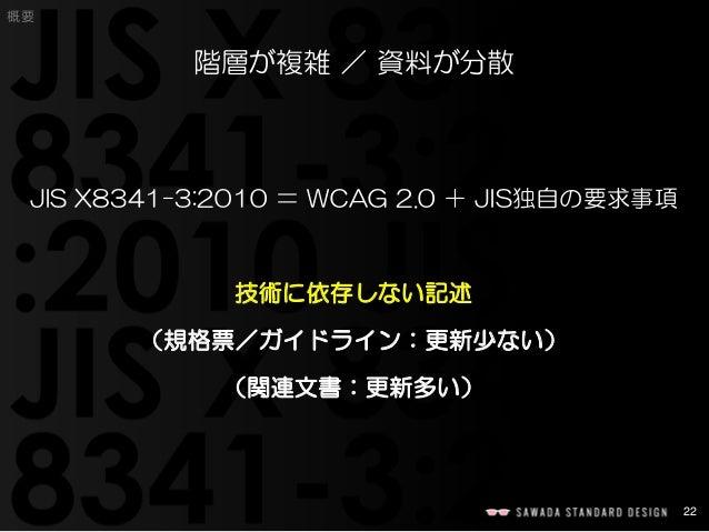 22  概要  階層が複雑/資料が分散  JIS X8341-3:2010 =WCAG 2.0 +JIS独自の要求事項  技術に依存しない記述  (規格票/ガイドライン:更新少ない)  (関連文書:更新多い)