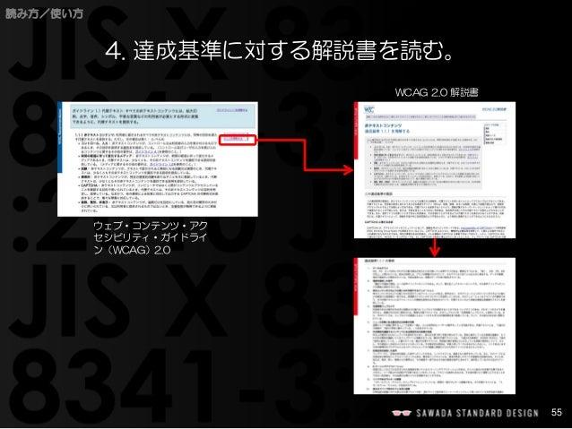 55  読み方/使い方  4. 達成基準に対する解説書を読む。  ウェブ・コンテンツ・アク セシビリティ・ガイドライ ン(WCAG)2.0  WCAG 2.0 解説書