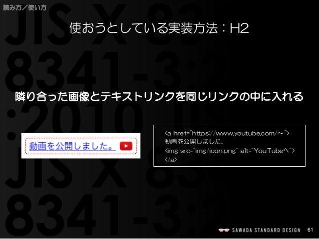 """61  読み方/使い方  使おうとしている実装方法:H2  隣り合った画像とテキストリンクを同じリンクの中に入れる  <ahref=""""https://www.youtube.com/〜"""">  動画を公開しました。  <imgsrc=""""img/i..."""