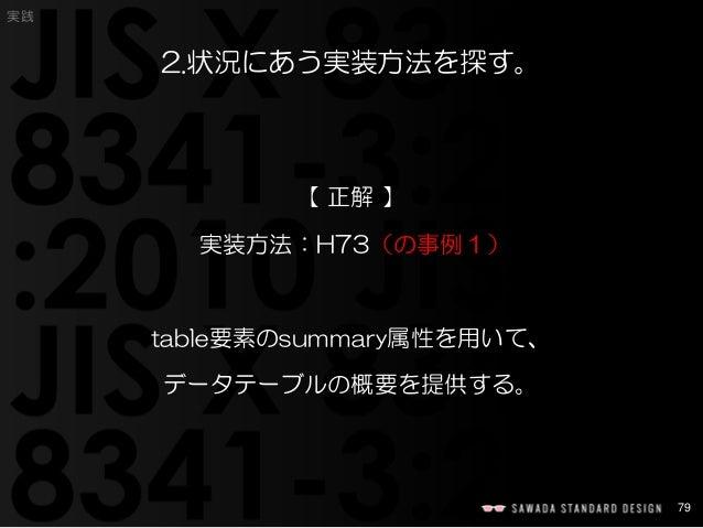 79  実践  2.状況にあう実装方法を探す。  【正解】  実装方法:H73(の事例1)  table要素のsummary属性を用いて、  データテーブルの概要を提供する。