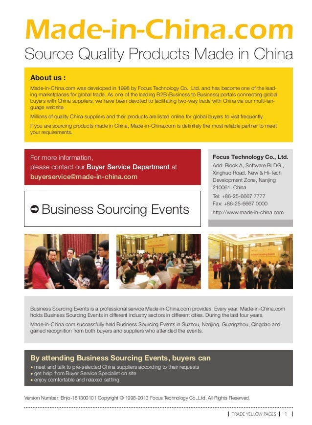 Made-in-China.com Source Quality Products Made in China Business Sourcing Events is a professional service Made-in-China.c...