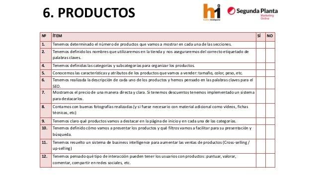 6. PRODUCTOS  Nº  ÍTEM  SÍ  NO  1.  Tenemos determinado el número de productos que vamos a mostrar en cada una de las secc...