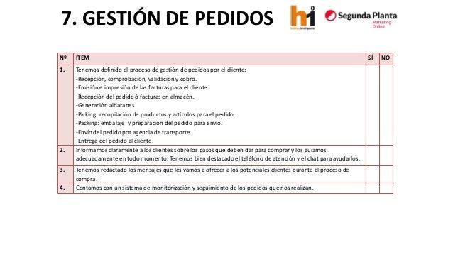7. GESTIÓN DE PEDIDOS  Nº  ÍTEM  SÍ  NO  1.  Tenemos definido el proceso de gestión de pedidos por el cliente:  -Recepción...