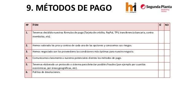 9. MÉTODOS DE PAGO  Nº  ÍTEM  SÍ  NO  1.  Tenemos decidido nuestras fórmulas de pago (Tarjeta de crédito, PayPal, TPV, tra...