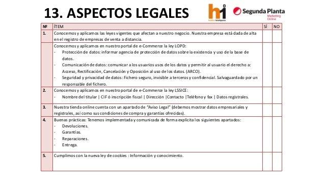 13. ASPECTOS LEGALES  Nº  ÍTEM  SÍ  NO  1.  Conocemos y aplicamos las leyes vigentes que afectan a nuestronegocio. Nuestra...