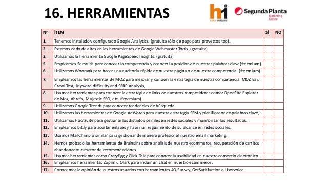 16. HERRAMIENTAS  Nº  ÍTEM  SÍ  NO  1.  Tenemosinstalado y configurado Google Analytics. (gratuita sólo de pago para proye...