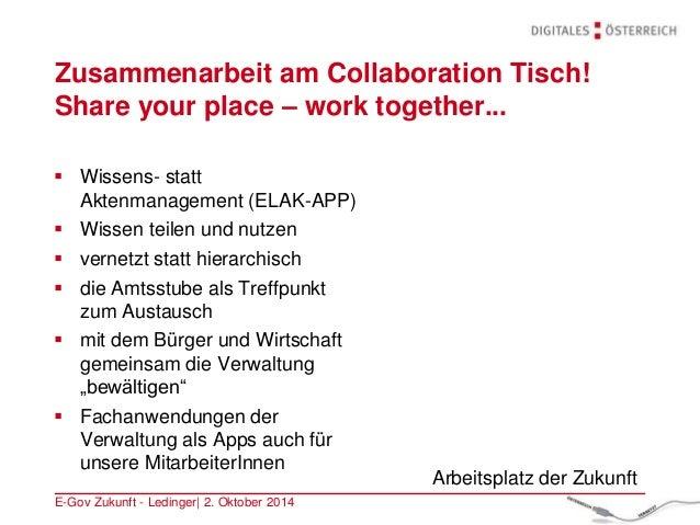 Zusammenarbeit am Collaboration Tisch! Share your place – work together... E-Gov Zukunft - Ledinger| 2. Oktober 2014  Wis...