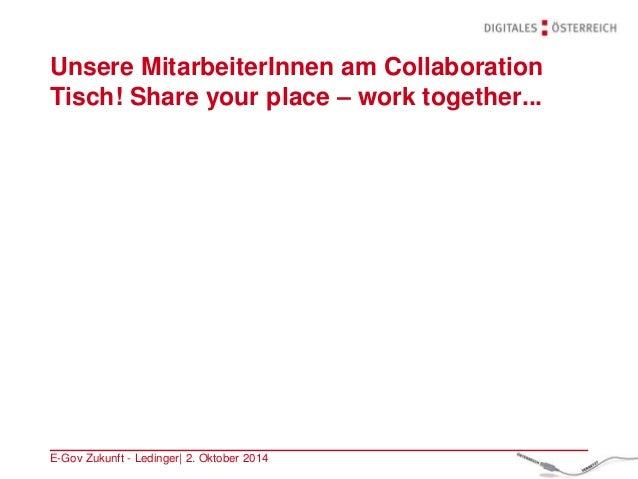 Unsere MitarbeiterInnen am Collaboration Tisch! Share your place – work together... E-Gov Zukunft - Ledinger| 2. Oktober 2...