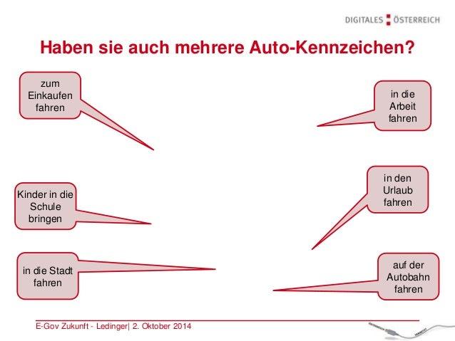 Haben sie auch mehrere Auto-Kennzeichen? E-Gov Zukunft - Ledinger| 2. Oktober 2014 zum Einkaufen fahren in die Arbeit fahr...