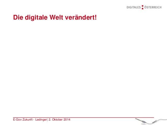 Die digitale Welt verändert! E-Gov Zukunft - Ledinger| 2. Oktober 2014