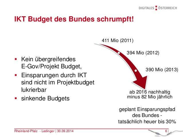 IKT Budget des Bundes schrumpft!  Kein übergreifendes E-Gov/Projekt Budget,  Einsparungen durch IKT sind nicht im Projek...
