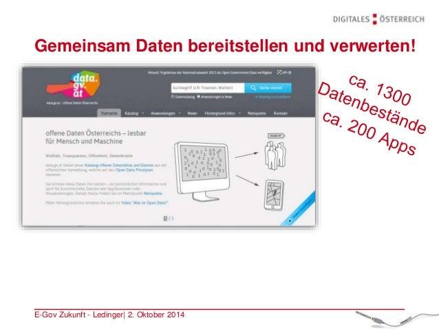 Gemeinsam Daten bereitstellen und verwerten! E-Gov Zukunft - Ledinger| 2. Oktober 2014