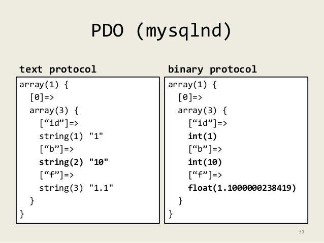 "PDO (mysqlnd)  text protocol  array(1) {  [0]=>  array(3) {  [""id""]=>  string(1) ""1""  [""b""]=>  string(2) ""10""  [""f""]=>  st..."