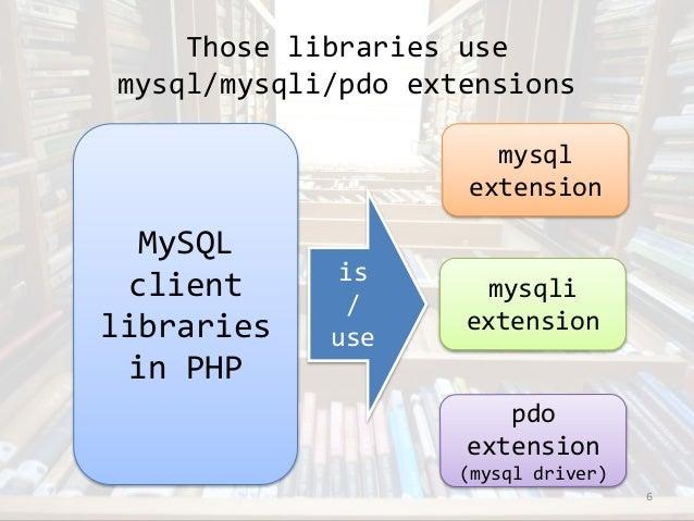 Those libraries use  mysql/mysqli/pdo extensions  6  MySQL  client  libraries  in PHP  is  /  use  mysql  extension  mysql...