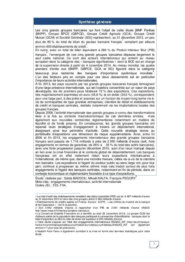 3 Synthèse générale  Les cinq grands groupes bancaires qui font l'objet de cette étude [BNP Paribas (BNPP), Groupe BPCE (G...