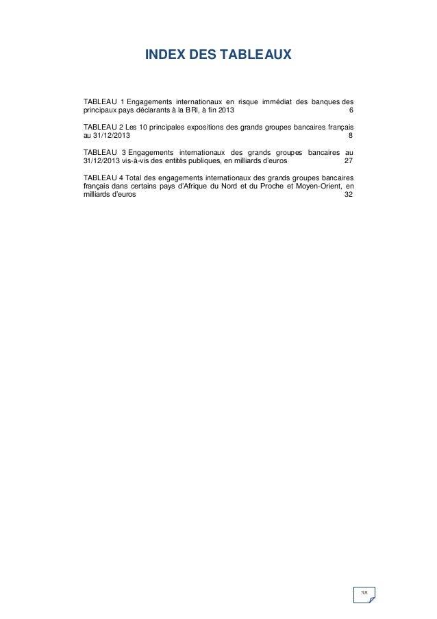 38  INDEX DES TABLEAUX  TABLEAU 1 Engagements internationaux en risque immédiat des banques des principaux pays déclarants...
