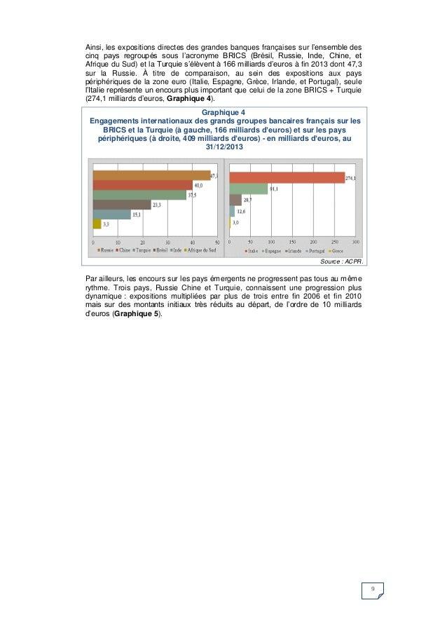 9  Ainsi, les expositions directes des grandes banques françaises sur l'ensemble des cinq pays regroupés sous l'acronyme B...