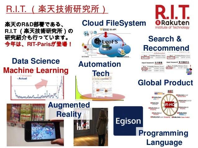 楽天のR&D部署である、 R.I.T (楽天技術研究所)の 研究紹介も行っています。  今年は、RIT-Parisが登場!  Cloud FileSystem  R-HC  Global Product  Automation  Tech  D...