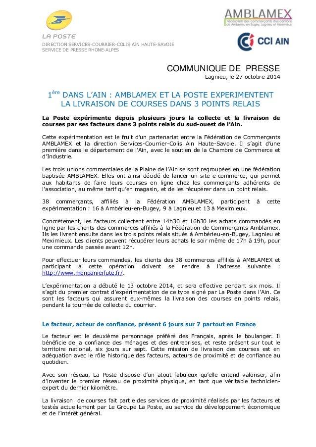 DIRECTION SERVICES-COURRIER-COLIS AIN HAUTE-SAVOIE  SERVICE DE PRESSE RHONE-ALPES  COMMUNIQUE DE PRESSE  Lagnieu, le 27 oc...