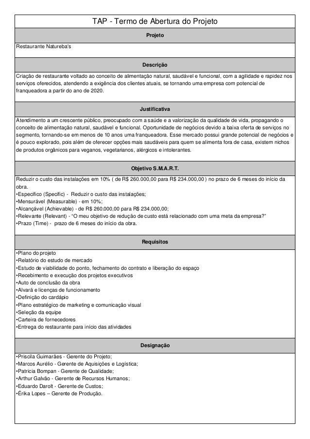 TAP - Termo de Abertura do Projeto  Projeto  Restaurante Natureba's  Descrição  Criação de restaurante voltado ao conceito...