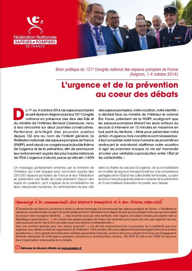 L'urgence et de la prévention au coeur des débats Bilan politique du 121e Congrès national des sapeurs-pompiers de France ...