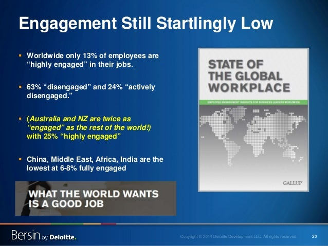 """20  Engagement Still Startlingly Low    Worldwide only 13% of employees are """"highly engaged"""" in their jobs.    63% """"dise..."""