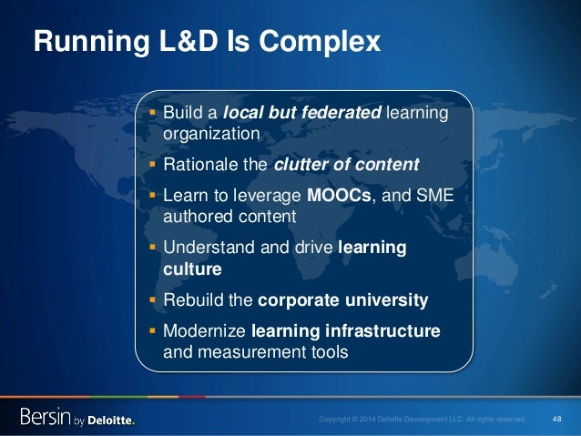 48  Running L&D Is Complex    Build a local but federated learning organization    Rationale the clutter of content    ...