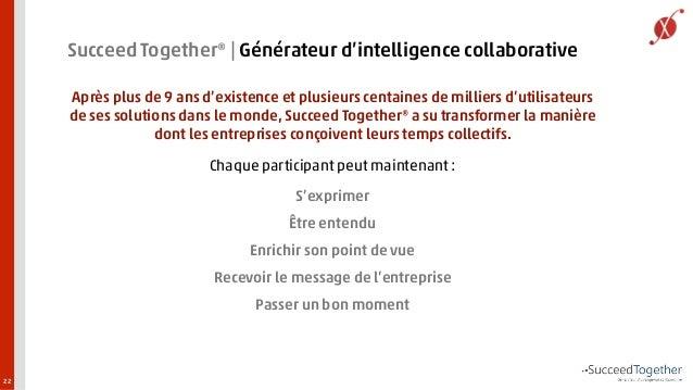 22  Succeed Together®   Générateur d'intelligence collaborative  Après plus de 9 ans d'existence et plusieurs centaines de...