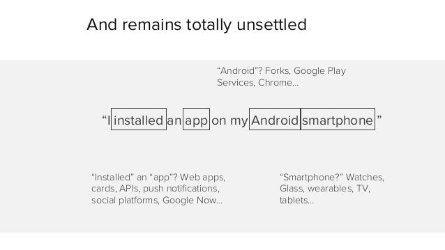 """And remains totally unsettled  """"Android""""? Forks, Google Play  Services, Chrome…  """"I installed an app on my Android smartph..."""