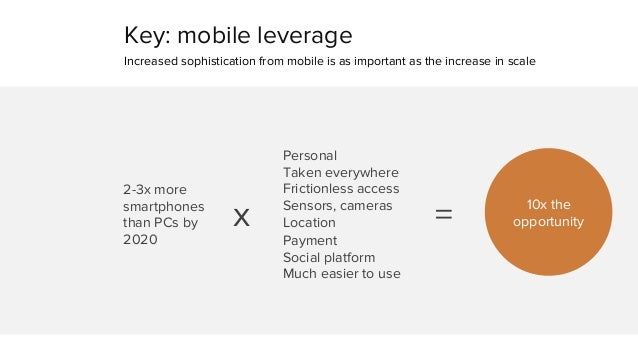 Key: mobile leverage  I n creased sophistication from mobile is as important as the increase in scale  x  Personal  Taken ...