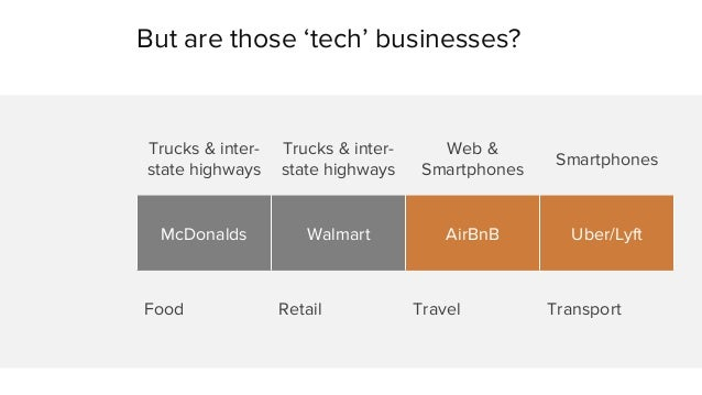 But are those 'tech' businesses?  Trucks & inter-state  highways  Trucks & inter-state  highways  Web &  Smartphones Smart...