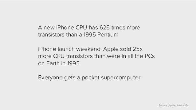 Source: Apple, Intel, a16z  A new iPhone CPU has 625 times more  transistors than a 1995 Pentium  iPhone launch weekend: A...