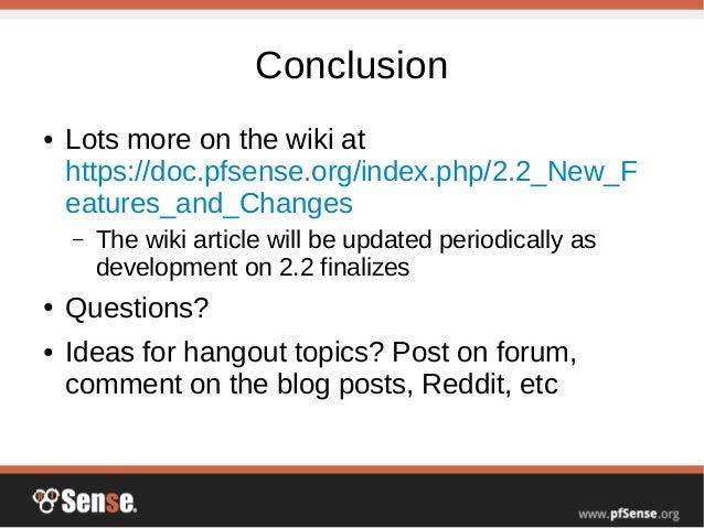 pfSense 2 2 Preview - pfSense Hangout November 2014