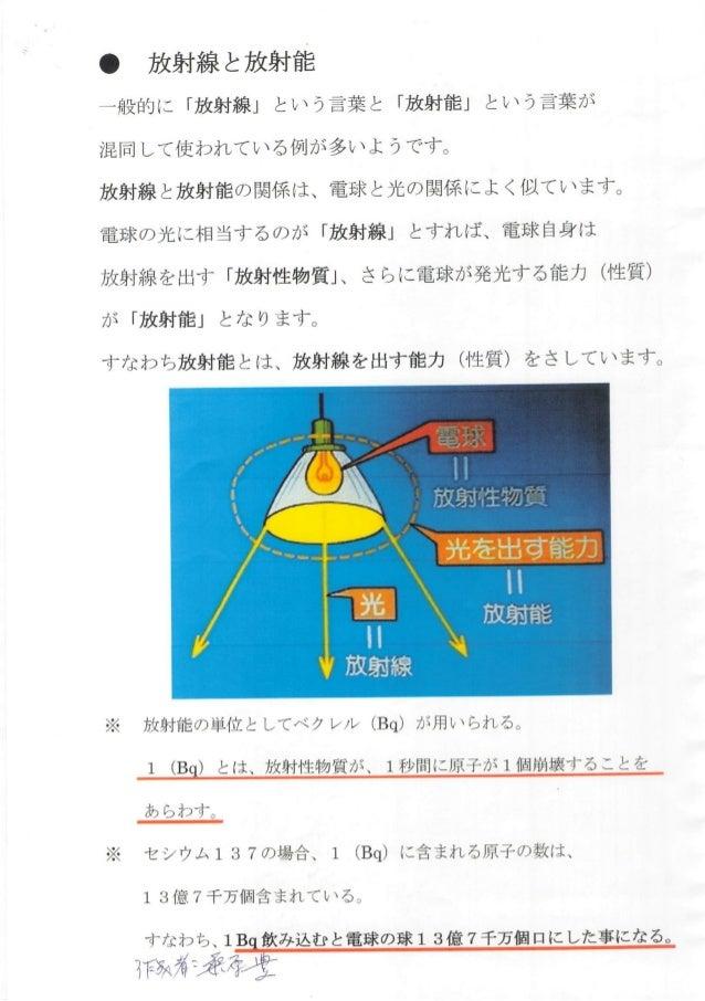 放射線と放射能 …舟受白急(こ 「放射線」 とし丶う言葉と 「放射能」 とし丶う言葉ヵ主 才昆同し て使われてし丶るイ夙jヵ享多し丶ようです〔 放射線と放射能の関金系( ま、 電玉求と光の関係(こよくイ以てし丶ます。 電王求の光逐こ木目当するの...