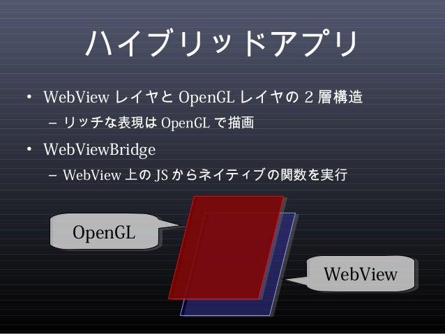 ハイブリッドアプリ  • WebViewレイヤとOpenGLレイヤの2層構造  – リッチな表現はOpenGLで描画  • WebViewBridge  – WebView上のJSからネイティブの関数を実行  WWeebbVViieeww  O...