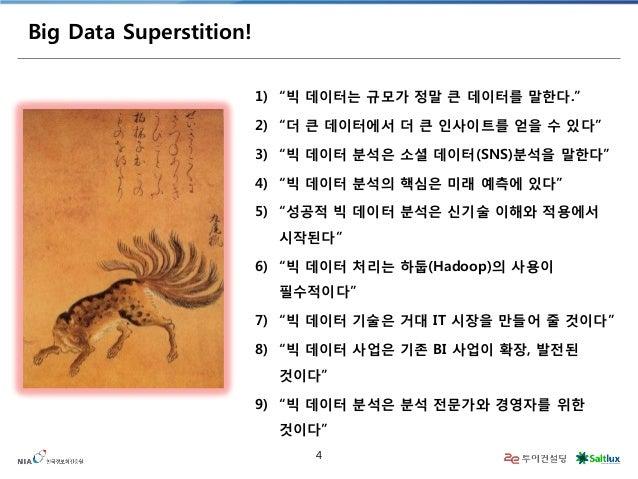 "4  Big Data Superstition!  1)  ""빅 데이터는 규모가 정말 큰 데이터를 말한다.""  2)  ""더 큰 데이터에서 더 큰 인사이트를 얻을 수 있다""  3)  ""빅 데이터 분석은 소셜 데이터(SNS)분..."