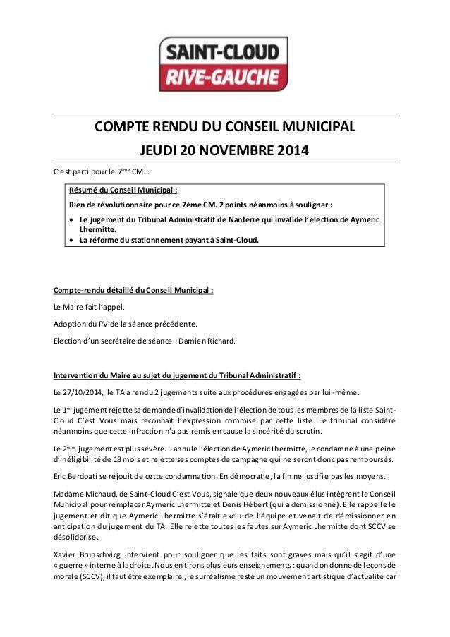 COMPTE RENDU DU CONSEIL MUNICIPAL JEUDI 20 NOVEMBRE 2014 C'est parti pour le 7ème CM... Résumé du Conseil Municipal : Rien...
