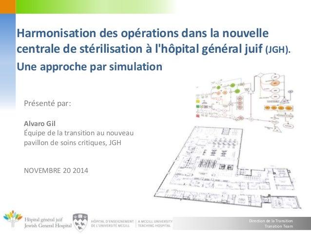Harmonisation des opérations dans la nouvelle  centrale de stérilisation à l'hôpital général juif (JGH).  Une approche par...