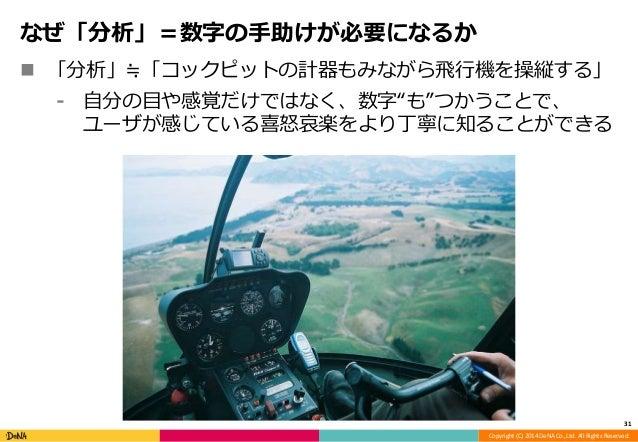 Copyright (C) 2014 DeNA Co.,Ltd. All Rights Reserved.  なぜ「分析」=数字の手助けが必要になるか   「分析」≒「コックピットの計器もみながら飛行機を操縦する」  ⁃ 自分の目や感覚だけで...