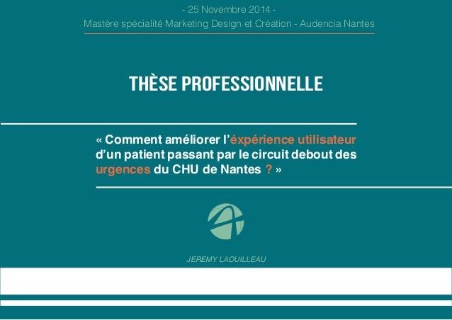 JEREMY LAOUILLEAU  THÈSE PROFESSIONNELLE  - 25 Novembre 2014 -  Mastère spécialité Marketing Design et Création - Audencia...