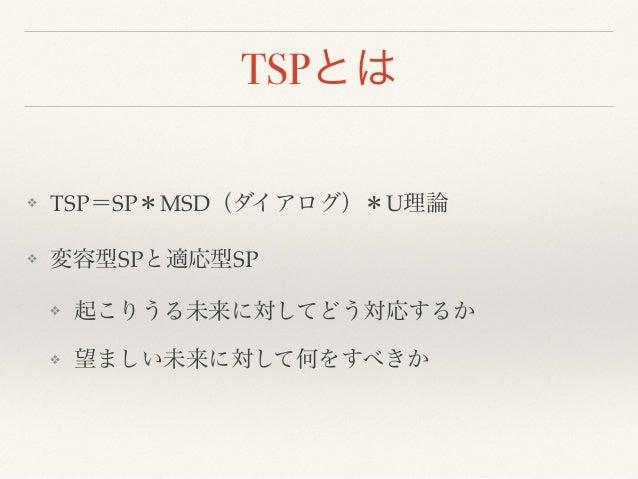 TSPとは  ❖ TSP=SP*MSD(ダイアログ)*U理論!  ❖ 変容型SPと適応型SP!  ❖ 起こりうる未来に対してどう対応するか!  ❖ 望ましい未来に対して何をすべきか