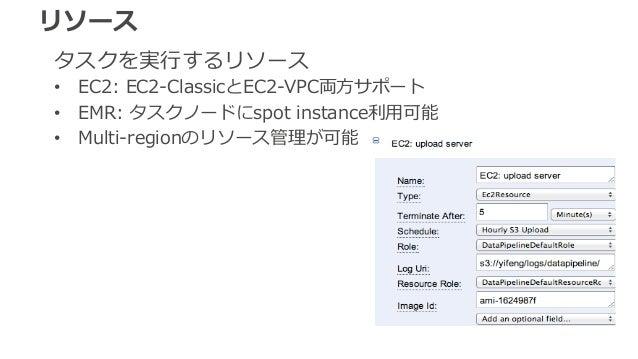 リソース  タスクを実⾏行行するリソース  • EC2: EC2-‐‑‒ClassicとEC2-‐‑‒VPC両⽅方サポート  • EMR: タスクノードにspot instance利利⽤用可能  • Multi-‐‑‒regionのリソース管理...