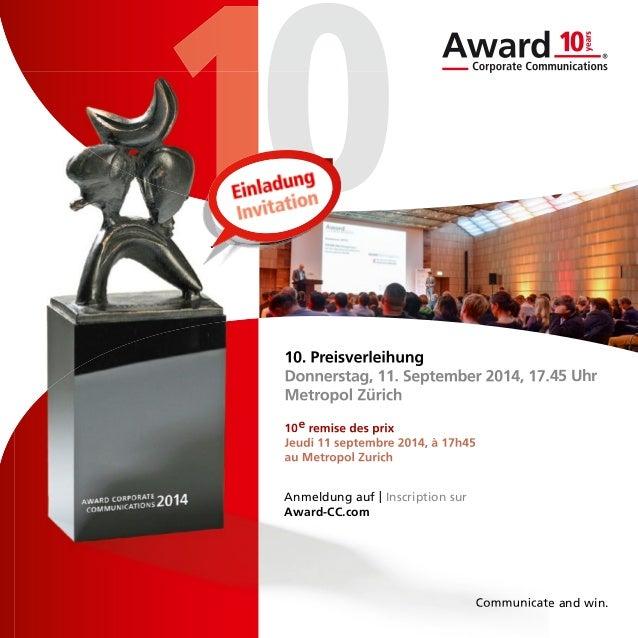 Award Corporate Communications: Einladung 10. Preisverleihung